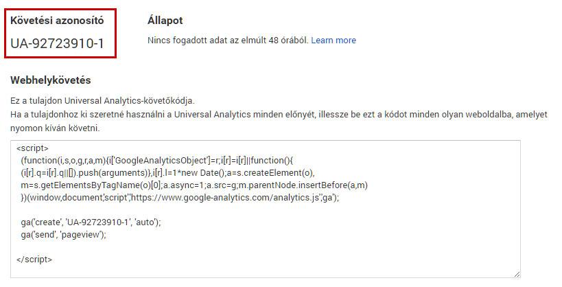 Google Analytics követési azonosító