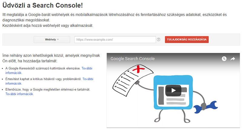 Google Search Console kezdőképernyő
