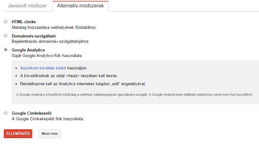 Google Search Console tulajdon visszaigazolása